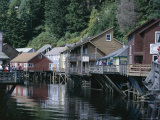 Old Stilt Buildings Along Ketchikan Creek  Ketchikan  South East Alaska  USA