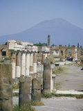 Vesuvius Volcano from Ruins of Forum Buildings in Roman Town  Pompeii  Campania  Italy