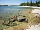 North Shore of Lake on Rocky Platform of Forested Laurentian Shield  Lake Superior  Canada