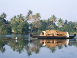 Tourists' Rice Boat on the Backwaters Near Kayamkulam  Kerala  India
