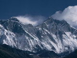 Mount Everest  Peak on the Left with Snow Plume  Seen Over Nuptse Ridge  Himalayas  Nepal