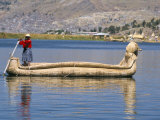 Traditional Urus Reed Boat  Islas Flotantas  Reed Islands  Lake Titicaca  Peru  South America
