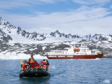Tourists in Zodiac from Ice-Breaker Tour Ship  Spitsbergen  Norway