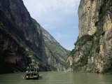 Tourist Boat in the Longmen Gorge  First of the Small Three Gorges  Yangtze Gorges  China