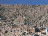 View Across City from El Alto  of Suburb Houses Stacked up Hillside  La Paz  Bolivia