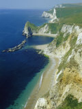 Chalk and Limestone Cliffs Between Lulworth and Durdle Door  Isle of Purbeck  Dorset  England  UK