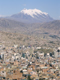 View Across City from El Alto  with Illimani Volcano in Distance  La Paz  Bolivia  South America