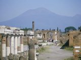 Vesuvius Volcano from Ruins of Forum Buildings in Roman Town  Pompeii  Campania  Italy