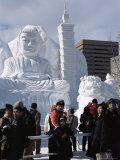 Snow Sculptures in Odori-Koen  Yuki Matsuri (Snow Festival)  Sapporo  Hokkaido  Japan