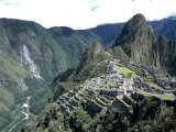 Ruins of Inca Town Site  Seen from South  with Rio Urabamba Below  Unesco World Heritage Site