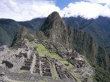 Classic View from Funerary Rock of Inca Town Site  Machu Picchu  Unesco World Heritage Site  Peru