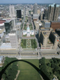 State Capitol and Downtown Seen from Gateway Arch  Which Casts a Shadow  St Louis  USA