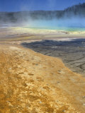 Geyserite Terraces Coloured by Algal Mats  Midway Geyser Basin  Unesco World Heritage Site