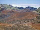 Foot Trail Through Haleakala Volcano Crater Winds Between Red Cinder Cones  Maui  Hawaiian Islands