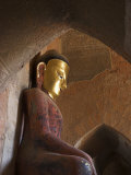 Buddha Image and Frescoes from the Konbaung Period  Old Bagan  Myanmar
