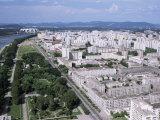 Blocks of Flats Beside Taedong River  Park and Distant Mayday Stadium  Pyongyang  North Korea