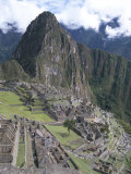 Classic View from Funerary Rock of Inca Town Site  Machu Picchu  Unesco World Heritage Site  Peru