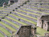 Agricultural Terraces in Ruins of Inca Site  Machu Picchu  Unesco World Heritage Site  Peru