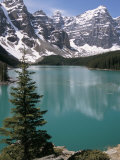 Moraine Lake with Mountains That Overlook Valley of the Ten Peaks  Banff National Park  Canada