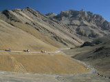 Trucks on the Lachalang Pass  Zanskar People on Horse Trail  Ladakh  India