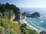 Spectacular Coastline with Waterfall  Julia Pfeiffer Burns State Park  Big Sur  USA