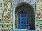 Pilgrim Sits in a Niche at the Shrine of Hazrat Ali  Mazar-I-Sharif  Afghanistan