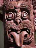 Maori Wooden Carving with Tongue Sticking Out  Rotorua  North Island  New Zealand