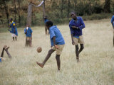 School Children Playing Football  Western Area  Kenya  East Africa  Africa
