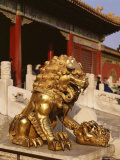 Close-Up of Lion Statue  Imperial Palace  Forbidden City  Beijing  China