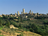 View to Town Across Agricultural Landscape  San Gimignano  Tuscany  Italy
