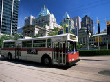Typical Red and White Bus  Robson Square  Vancouver  British Columbia  Canada