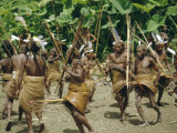 Yali People Dancing at a Ceremony  Membegan  Irian Jaya  New Guinea  Indonesia