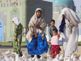 Family Looking at the Famous White Pigeons  Shrine of Hazrat Ali  Mazar-I-Sharif  Afghanistan