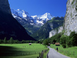 View Along Valley to the Breithorn  Lauterbrunnen  Bern  Switzerland
