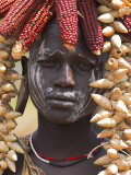 Portrait of a Mursi Lady  South Omo Valley  Ethiopia  Africa