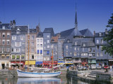 Old Harbour  St Catherine's Quay and Spire of St Catherine's Church Behind  Honfleur  France