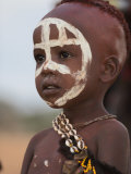 Portrait of a Hamer (Hamar) Child at Evangadi Dancing (Night Dance)  Dombo Village  Turmi  Ethiopia