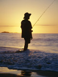Fishing from the Beach at Sunrise  Australia