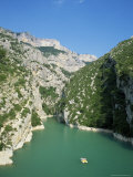 Small Boat on the River Verdon in the Grand Canyon of the Verdon  Provence  France