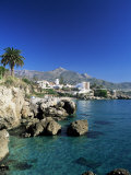 View Along Rock Coast to Town and Mountains  Nerja  Malaga  Andalucia  Spain  Mediterranean