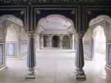 Stylized Foral Motif  Chalk Blue and White Painted Mahal  the City Palace  Jaipur  India