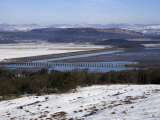 View of Lakeland Fells and Kent Estuary from Arnside Knott in Snow  Cumbria  England