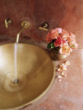Detail of Brass Hand Beaten Bathroom Sink in Bathroom Area of Residence  Amber  Near Jaipur  India