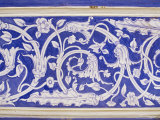 Abstract or Stylized Floral Motif  Chalk Blue and White Painted Mahal  the City Palace
