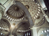 Interior of the Blue Mosque (Sultan Ahmet Mosque)  Unesco World Heritage Site  Istanbul  Turkey