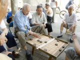 Elderly Men Playing a Form of Chess  Hu Hai Lake  Beijing  China