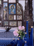 Colonial Style Bed with Bed Headboard Inlaid with 19th Century Prints of the God Krishna