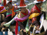 Tibetans Dressed for Religious Shaman's Ceremony  Tongren  Qinghai Province  China