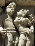 Detail of Carving of a Couple on the Parsvanatha Temple  Khajuraho  India