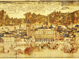 Early Panorama of Venice Dating from the 15th Century  Sansovino Library  Venice  Veneto  Italy
